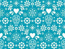 Sugar Skull Vector Seamless Pattern Inspired By Mexican Folk Art, Dia De Los Muertos Repetitive Design In White On Turquoise Background