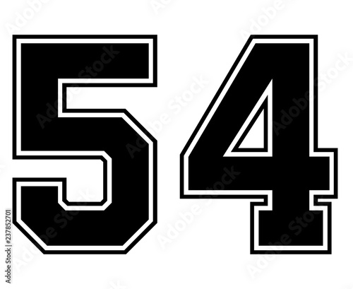 Classic Vintage Sport Jersey Number 54 in black number on white background for american football, baseball or basketball / logos and t-shirt Wallpaper Mural