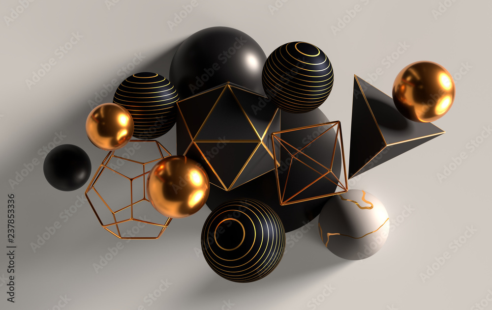 Fototapety, obrazy: Cluster of abstract spheres and solids, gold, white and black, 3d render