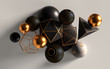 Cluster of abstract spheres and solids, gold, white and black, 3d render