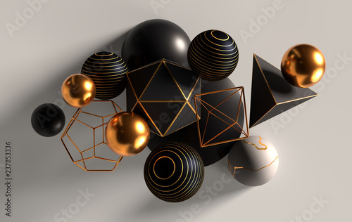 Fototapeta Cluster of abstract spheres and solids, gold, white and black, 3d render obraz