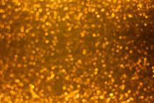 Holiday Shiny Gold Bokeh Background, Glitter, Sparkles, Defocused Glow