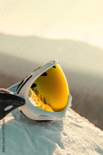 ski goggles on the snow