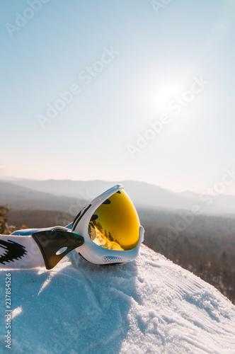 ski goggles on the snow
