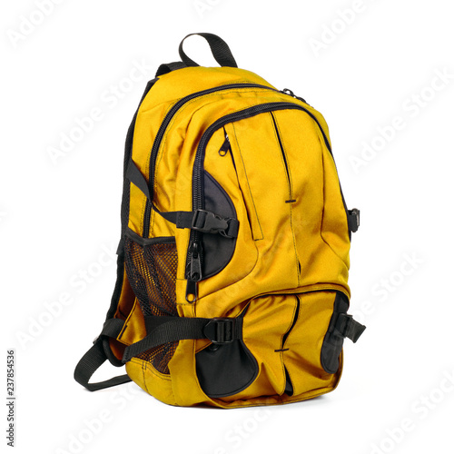 Fotografie, Obraz  Black and yellow carry on backpack for travel isolated on white background