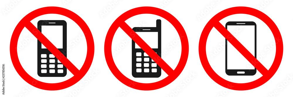 Fototapeta NO MOBILE PHONES allowed sign. Sticker set. Vector.