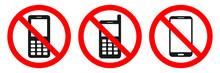 NO MOBILE PHONES Allowed Sign. Sticker Set. Vector.