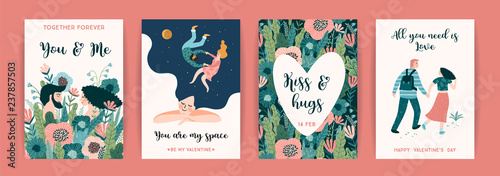 Fototapeta Romantic set of cute illustration. Vector design concept for Valentines Day and other users. obraz