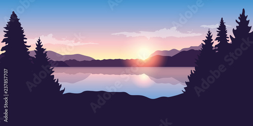 Fotografia  beautiful lake at sunrise purple nature landscape vector illustration EPS10
