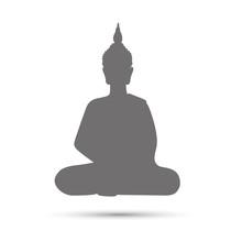 Buddha Grey Silhouette Meditat...