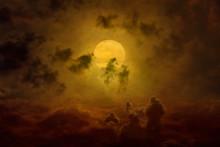 Glowing Full Moon Rises, Dark ...