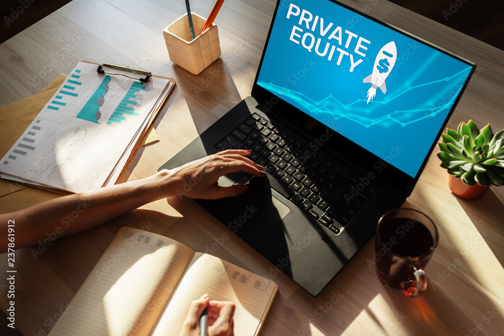 Fototapeta Private equity fund, investment and trading concept on screen. Financial growth.