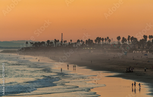 Evening sunset on Huntington beach in southern California