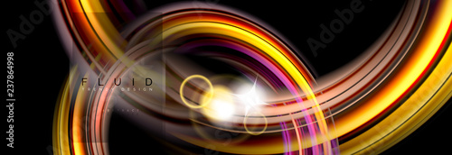 Acrylic Prints Abstract wave Background abstract design, flowing mixing liquid color waves on black
