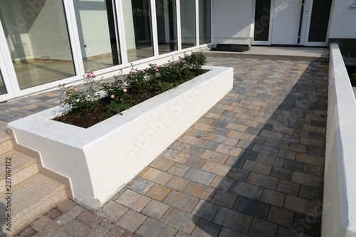 Modern paved building access with barrier-free wheelchair ramp Canvas