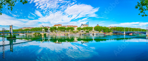 Riverside of Rhone river with Part Dieu center on background in Lyon, France