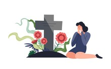 Funeral Burial Ceremony Person Sitting By Tombstone And Crying