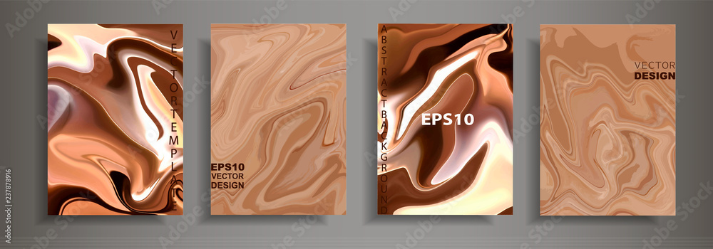 Fototapety, obrazy: Modern design A4.Abstract chocolate coffee texture bright liquid colors.Coating with acrylic paints. Design presentations, printing, flyers, business cards, menu, poster, websites, packaging,cover