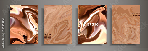 Fototapeta Modern design A4.Abstract chocolate coffee texture bright liquid colors.Coating with acrylic paints. Design presentations, printing, flyers, business cards, menu, poster, websites, packaging,cover obraz
