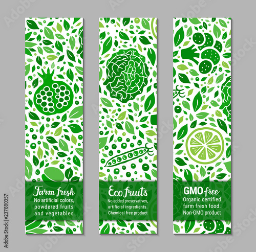 Ecology green food banner set with cabbage, pomegranate, lime, leaf and peas pattern Wallpaper Mural