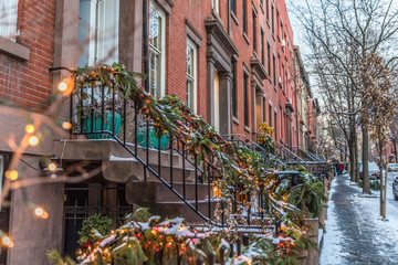 Christmas decorated houses in Brooklyn