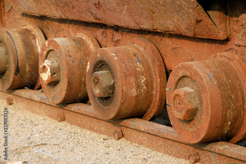 oxidation rust rail wheels - Buy this stock photo and