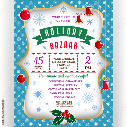 Poster for winter holiday bazaar Slika na platnu