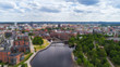 Beautiful summer panorama of Tampere city at summer day.
