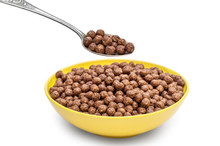 Spoon With Chocolate Cereal Ba...