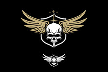 Skull With Wing Vector Military Theme Crest Or Badge Logo Template