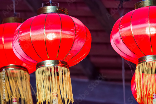 Tuinposter China Red Chinese lantern while hanging in preparation for Chinese new year