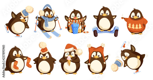 Fotografie, Tablou Penguins Wearing Winter Warm Clothes Set Vector