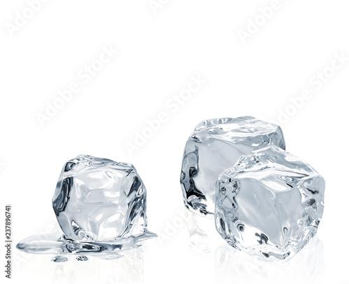Fotografia Melting ice cubes isolated on white background