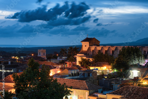 Wall Murals Nepal Night view of Trinidad and the Church of the Holy Trinity in Cuba