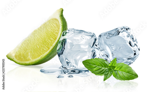 Obraz Ice cubes with lime / ice cubes, lime and basil leaves isolated on white background - fototapety do salonu