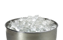 Ice Bucket Full With Crushed Ice From Top View Or From Above