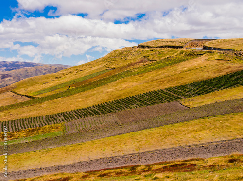 Fotobehang Zuid-Amerika land Ecuador, amazing andean landscape between Zumbahua canyon and Quilotoa lagoon with multicolored fields