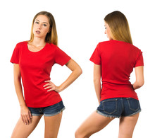 Young Woman Wearing Blank Red Shirt