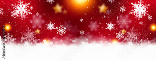 Red sparkling background with stars and snowflakes, balls, magical atmosphere of the Christmas holidays Tapéta, Fotótapéta