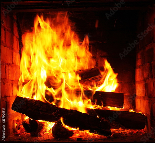 Poster Fire / Flame Home fireplace with beautiful orange fire and wood fire close-up as home comfort and hearth