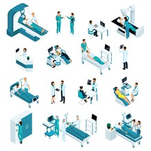 Isometrics Medicine, Quality People. Resuscitation, Doctors, Medical Workers. Includes Operating Table, X-ray Scanner, Anesthesia Machine And Other Equipment