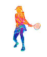 Abstract Tennis Player With A ...