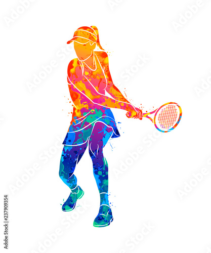Abstract tennis player with a racket from splash of watercolors Slika na platnu