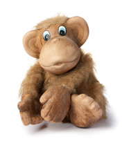 The Toy Beige Monkey Sits, Stretches Forward The Front Paws. Isolated On White Background.