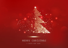 Merry Christmas, Tree Polygon, Confetti, Golden Glowing Particles Scatter, Poster, Postcard Red Luxury Background Seasonal Holiday Vector Illustration