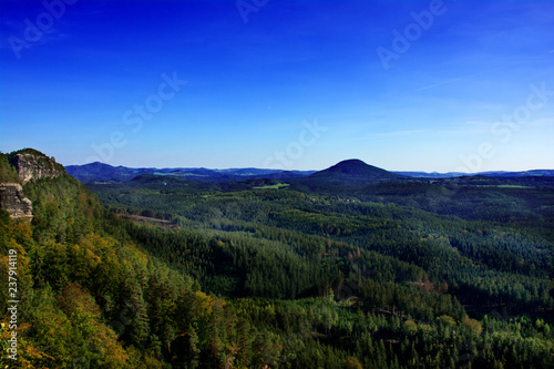 Poster Donkerblauw Summer forest & mountains view. Czech Republic.