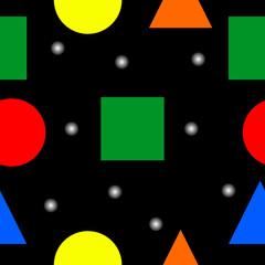Bezszwowa ilustracja składająca się z różnorodnych kolorowych kształtów geometrycznych.