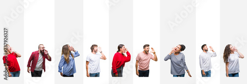 Fotografía Collage of different ethnics young people over white stripes isolated background shouting and screaming loud to side with hand on mouth