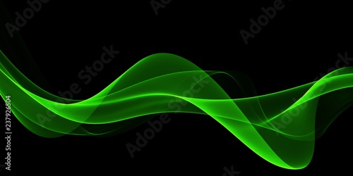 Fotobehang Abstract wave Abstract Light green wave on black background