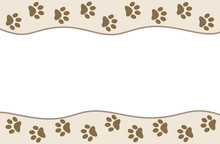 Animal Paw Prints On Beige Wav...